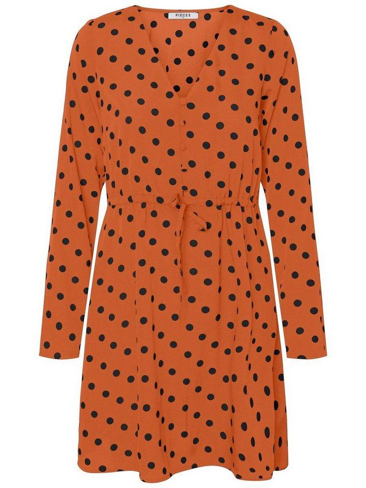 Pieces Lange mouwen jurk bruin