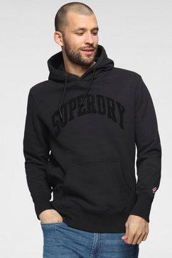 superdry hoodie varsity arch mono hood zwart