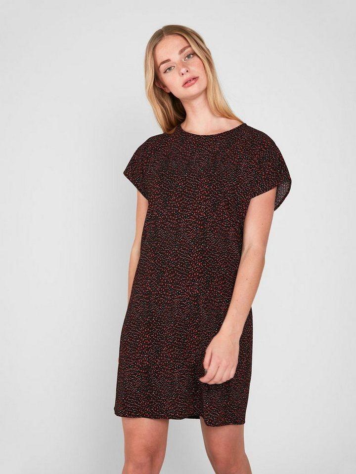 Pieces Bedrukte korte mouwen jurk rood