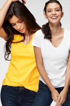 fruit of the loom shirt »lady-fit valueweight v-hals« (set van 2) geel