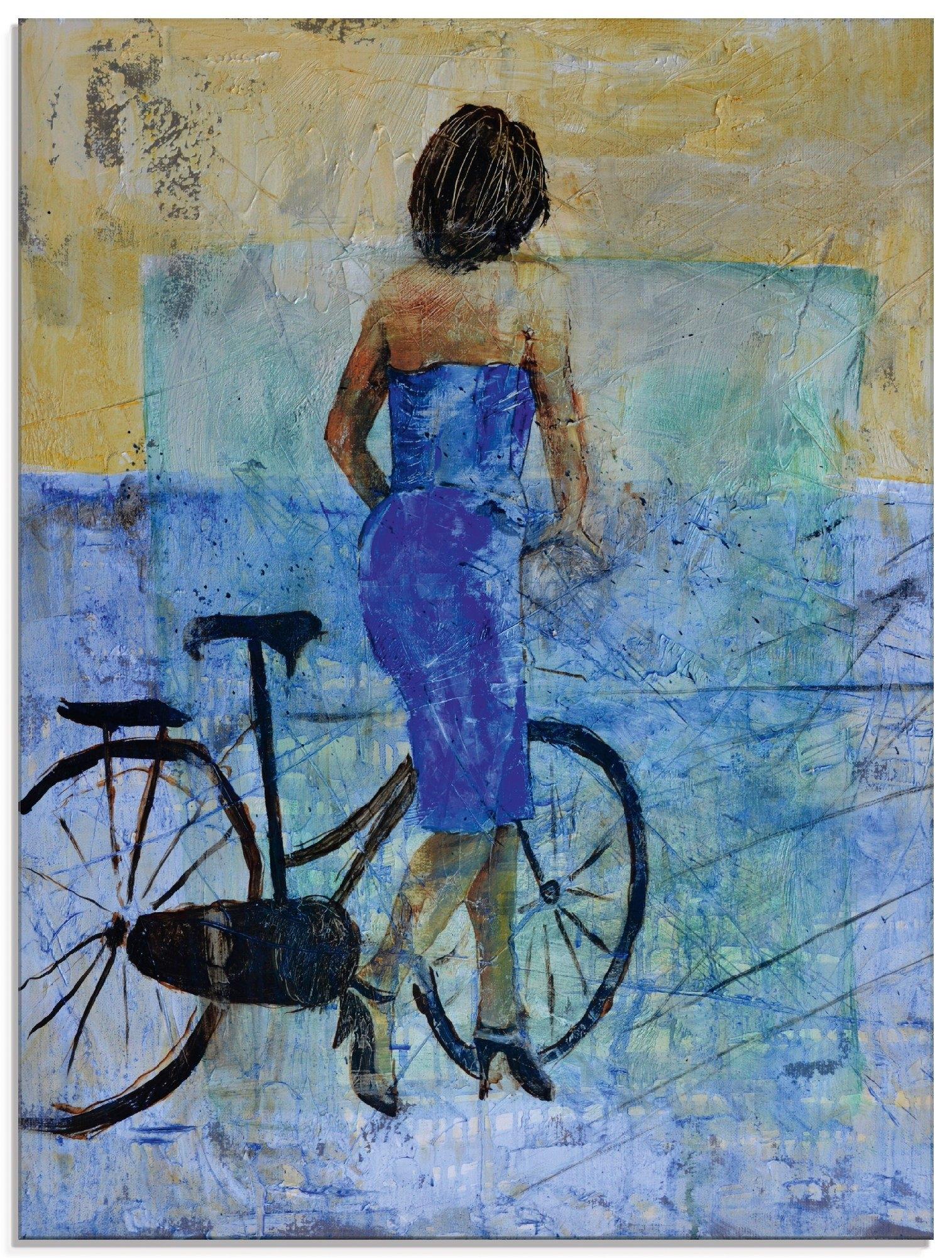 Artland print op glas Een meisje met een fiets (1 stuk) nu online kopen bij OTTO