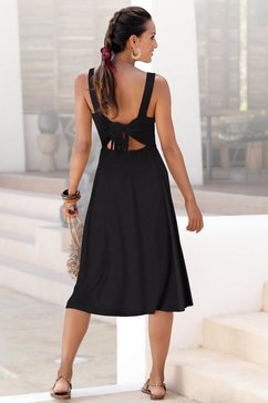 lascana midi-jurk met knoopdetail achter zwart
