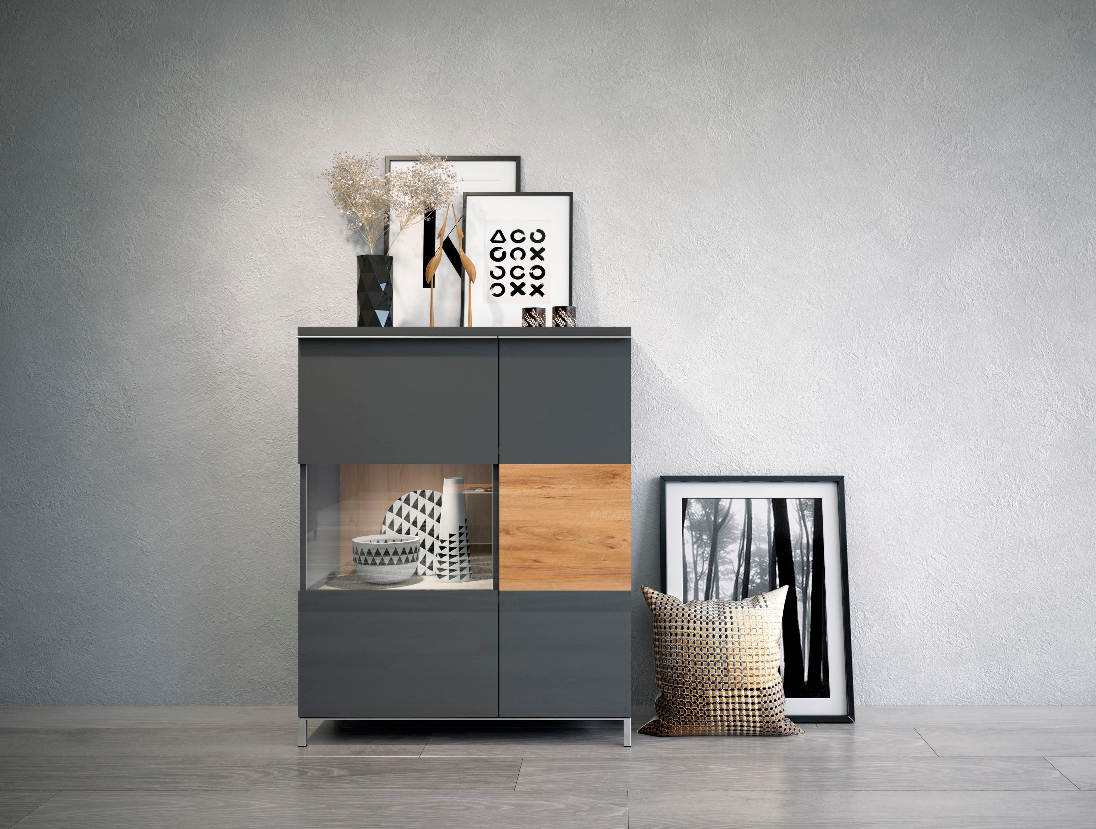 Places of Style vitrinekast Onyx met soft close functie nu online kopen bij OTTO