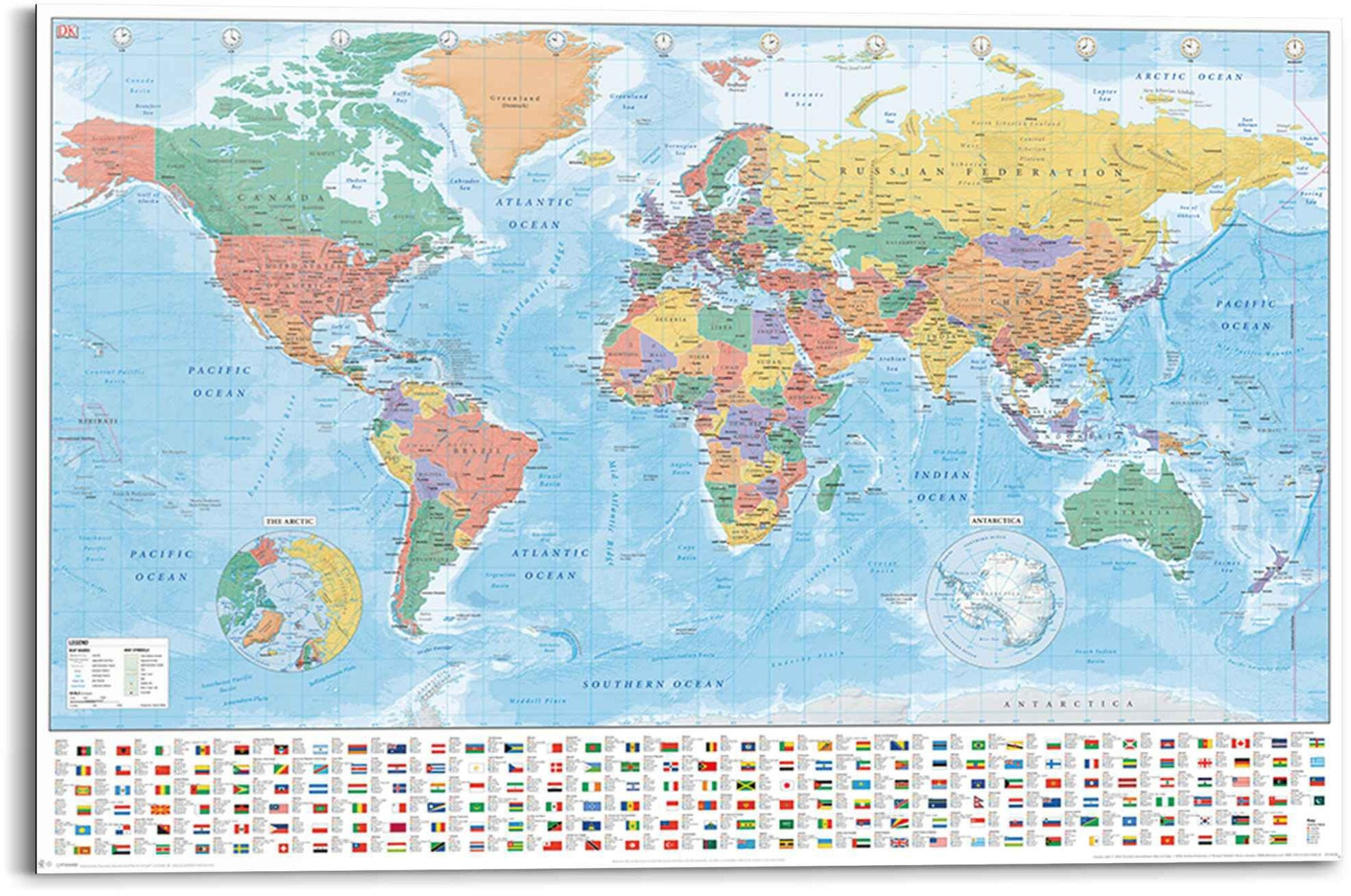 Reinders! artprint wereldkaart landkaart - continenten - vlaggen (1 stuk) - verschillende betaalmethodes