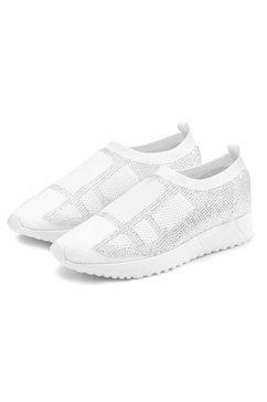 lascana sneakers slip-in met kleine strassteentjes en ultralichte zool wit