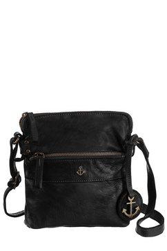 harbour 2nd mini-bag van leer met kenmerkende merk-anker-label en sierhanger zwart