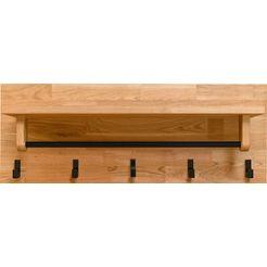 andas kapstokpaneel elba van massief eikenhout, met een garderobestang en vijf haken van metaal, breedte 81 cm beige