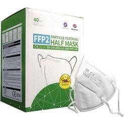 halfgelaatsmasker met filter ffp2 (set, 40 stuks) wit
