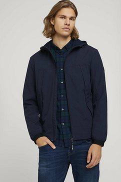 tom tailor denim softshell-jack »softshell jacke mit kapuze« blauw
