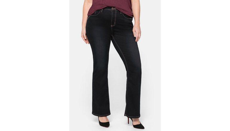 Sheego bootcut jeans met gekleurde details, in five-pocketsmodel