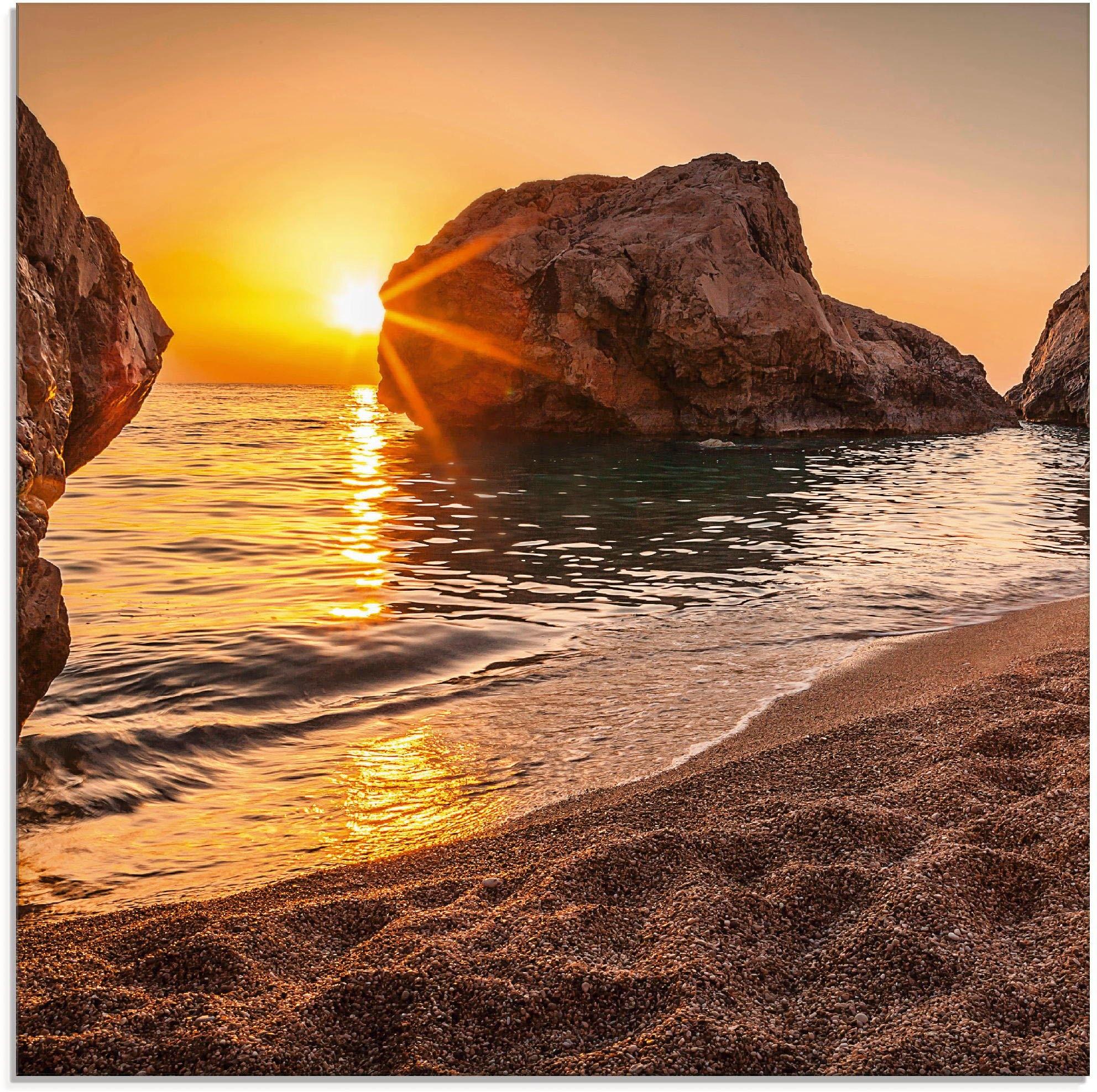 Artland print op glas Zonsondergang en strand (1 stuk) - verschillende betaalmethodes