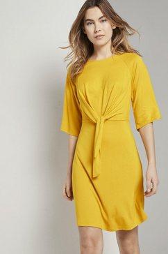 tom tailor zomerjurk »luftiges kleid mit knoten-detail und weiten aermeln« geel