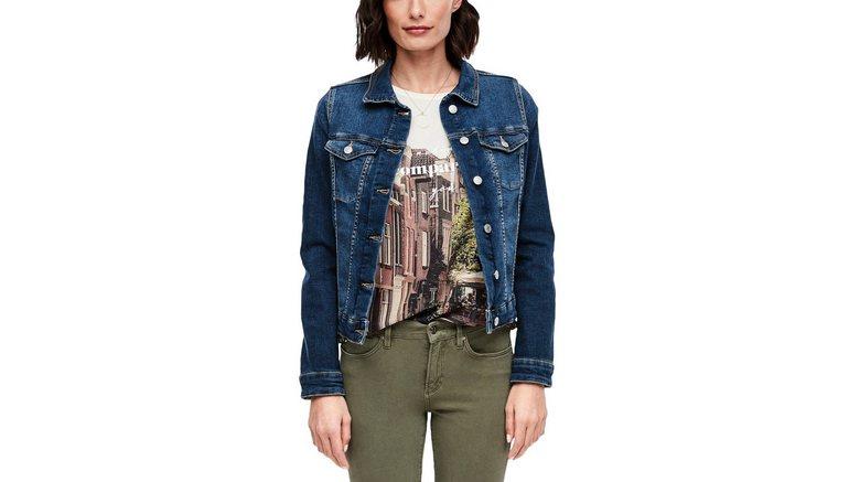 s.Oliver jeansjack in klassieke vorm