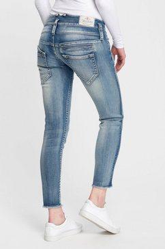 herrlicher slim fit jeans pitch slim cropped milieuvriendelijk dankzij kitotex technology blauw