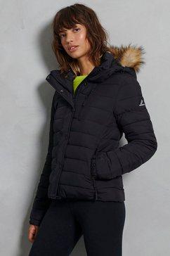 superdry gewatteerde jas »classic faux fur fuji jacket« zwart