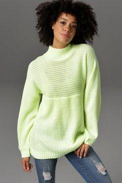 aniston casual trui met staande kraag met in de breedte gebreide top - nieuwe collectie groen
