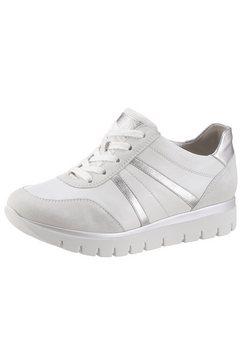 semler sneakers met sleehak silvia met contrastbeleg in metallic-look wit
