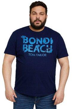 tom tailor men plus t-shirt met logoprint blauw