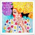 wall-art poster huelya rozen bloemen meisje poster, artprint, wandposter (1 stuk) multicolor