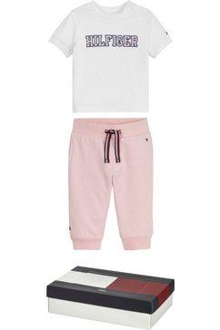 tommy hilfiger shirt  broek met logoprints (set, 2-delig) roze