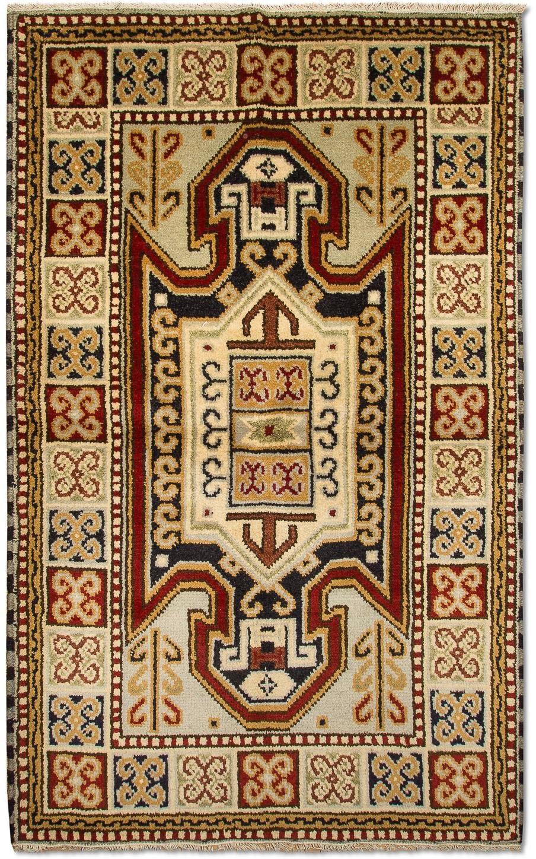 morgenland wollen kleed Kazak Teppich handgeknüpft beige voordelig en veilig online kopen