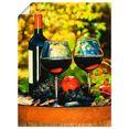 artland artprint glazen met rode wijn op oud vat in vele afmetingen  productsoorten - artprint van aluminium - artprint voor buiten, artprint op linnen, poster, muursticker - wandfolie ook geschikt voor de badkamer (1 stuk) groen