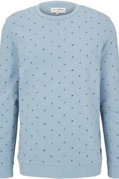 tom tailor denim sweatshirt met een subtiel patroon blauw