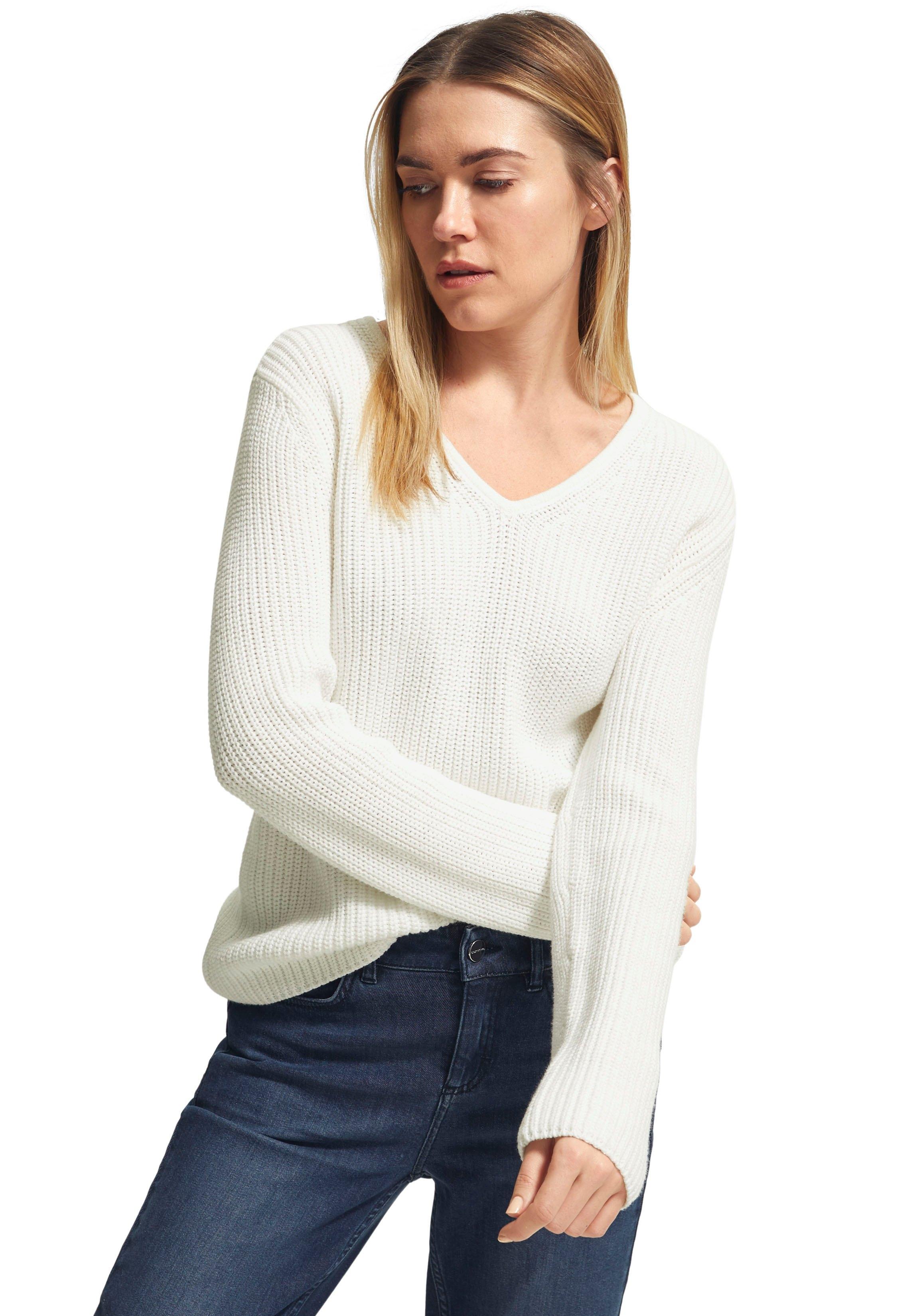 Comma gebreide trui van katoen met v-hals bij OTTO online kopen