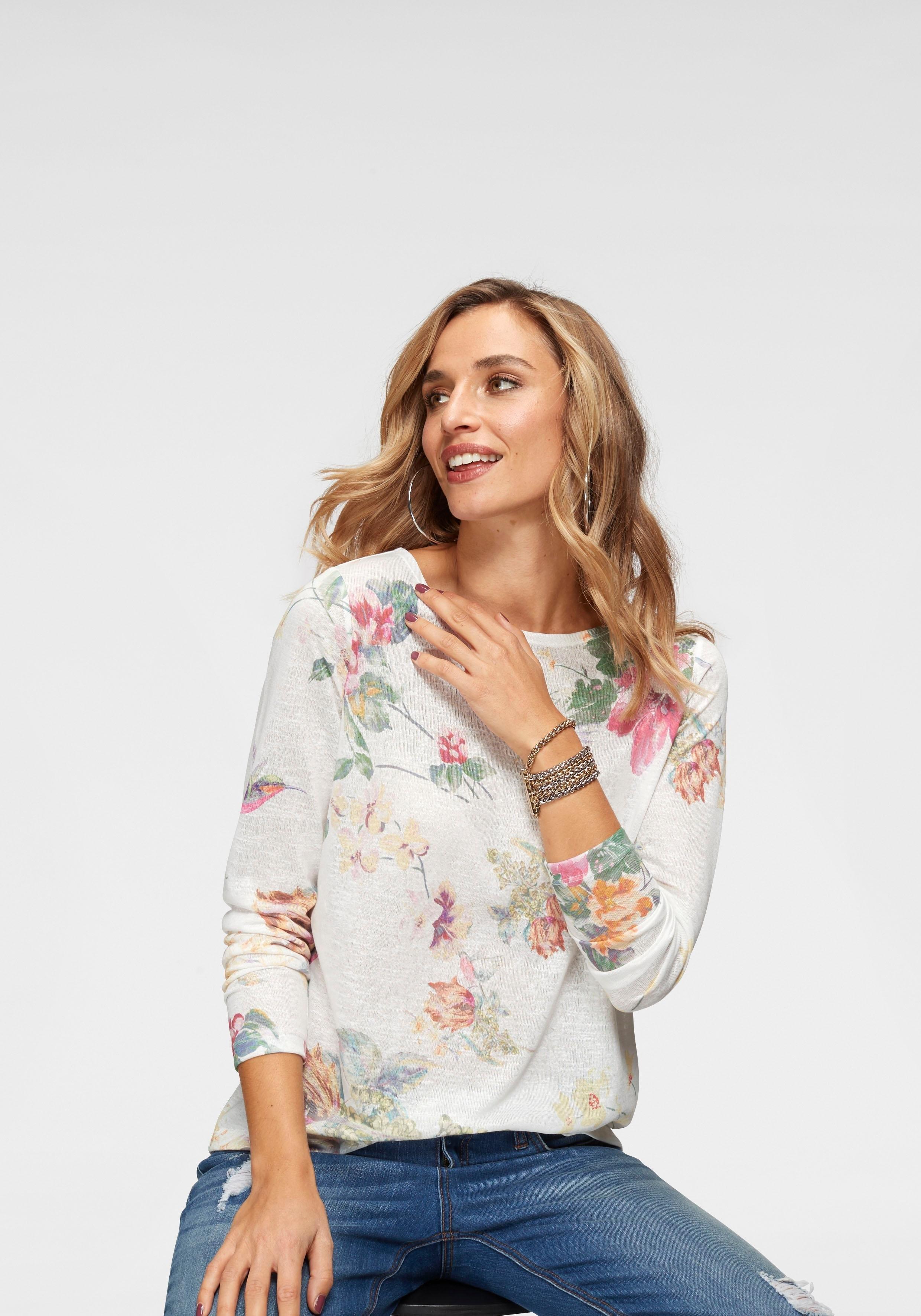 Aniston CASUAL shirt met lange mouwen met maxi-bloemenprint en vogels bestellen: 30 dagen bedenktijd