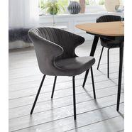 andas stoel »mekong« met metalen onderstel en fijne, sfeervolle velvetbekleding, zithoogte 48 cm grijs