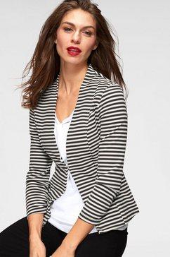 aniston selected korte blazer met strepen of uni-zwart zwart