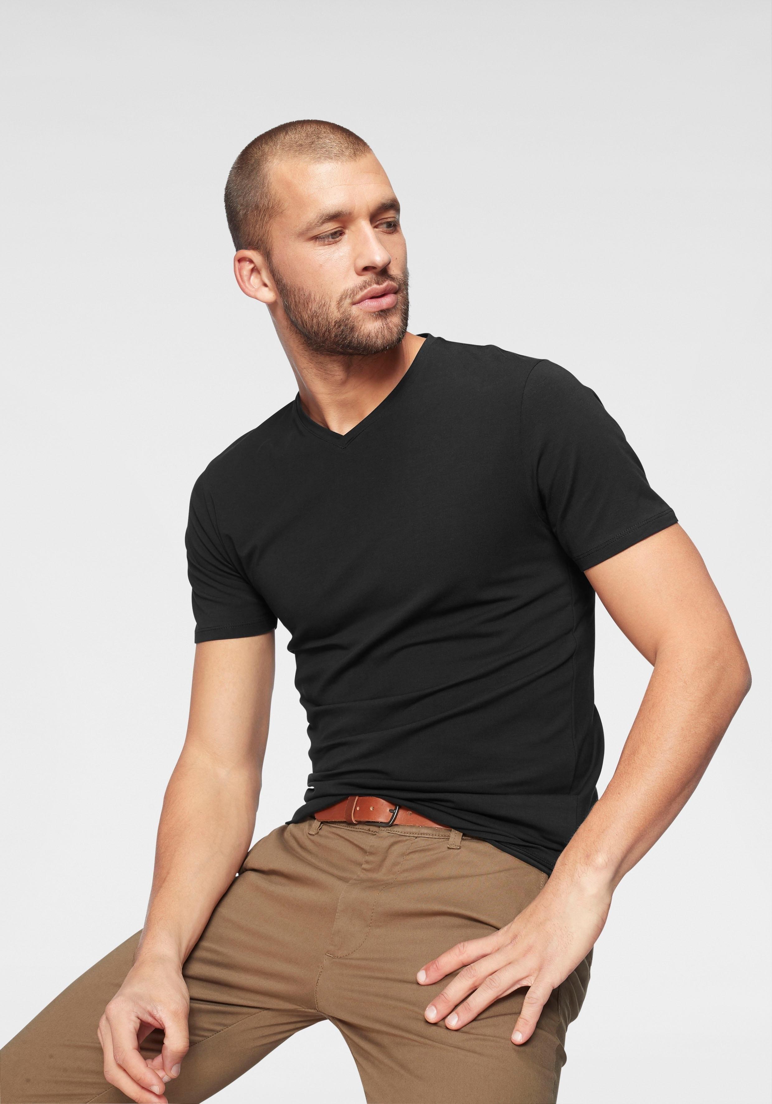 Selected Homme Jack & Jones T-shirt »SLHPIMA SS V-NECK TEE« in de webshop van OTTO kopen