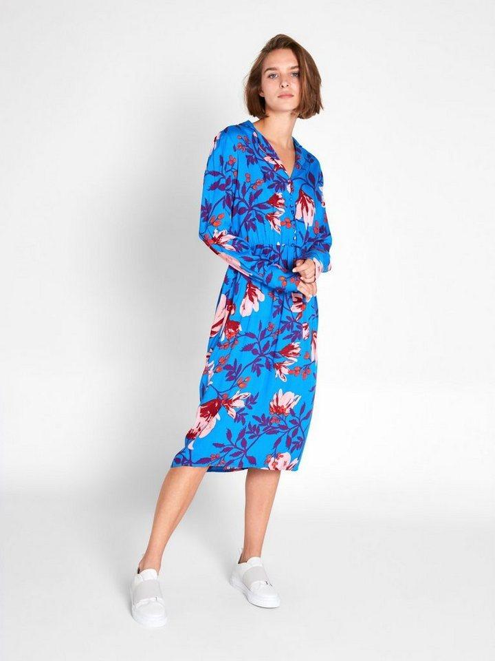 Pieces Gebloemde midi jurk met lange mouwen blauw