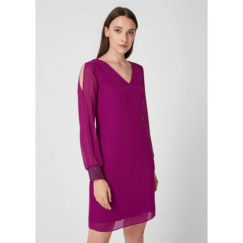 s.Oliver BLACK LABEL Chiffon jurk met sierparels