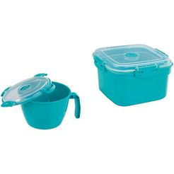 wenko magnetronservies, beker en steamer, 900 ml  2000 ml, 2-delige set groen