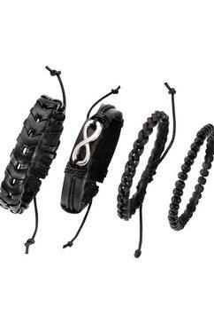 j.jayz armband set »infinity-eeuwige band, 139-810« (set, 4-delig) zwart