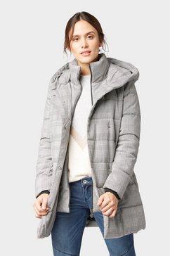 tom tailor duffelcoat »geruite gevoerde jas« zwart