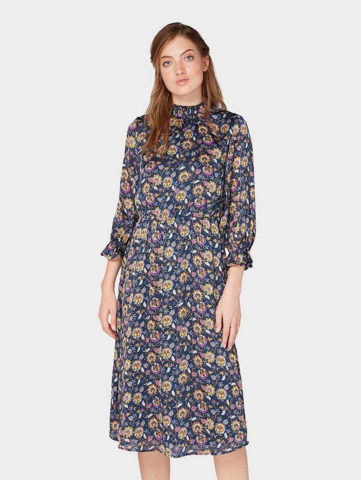 Tom Tailor blousejurkje Midi-jurk met bloemmotief paars