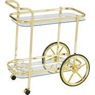 home affaire serveerwagen van stalen buizen met 2 wielen en 2 rollers geel