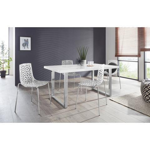 Eethoek Manger-Michael 180 met 4 stoelen, tafel met U-frame in edelstaal of zwart