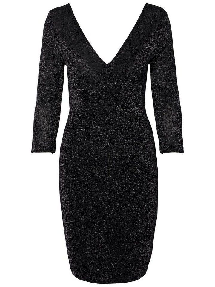 Pieces Bodycon jurk met lange mouwen zwart