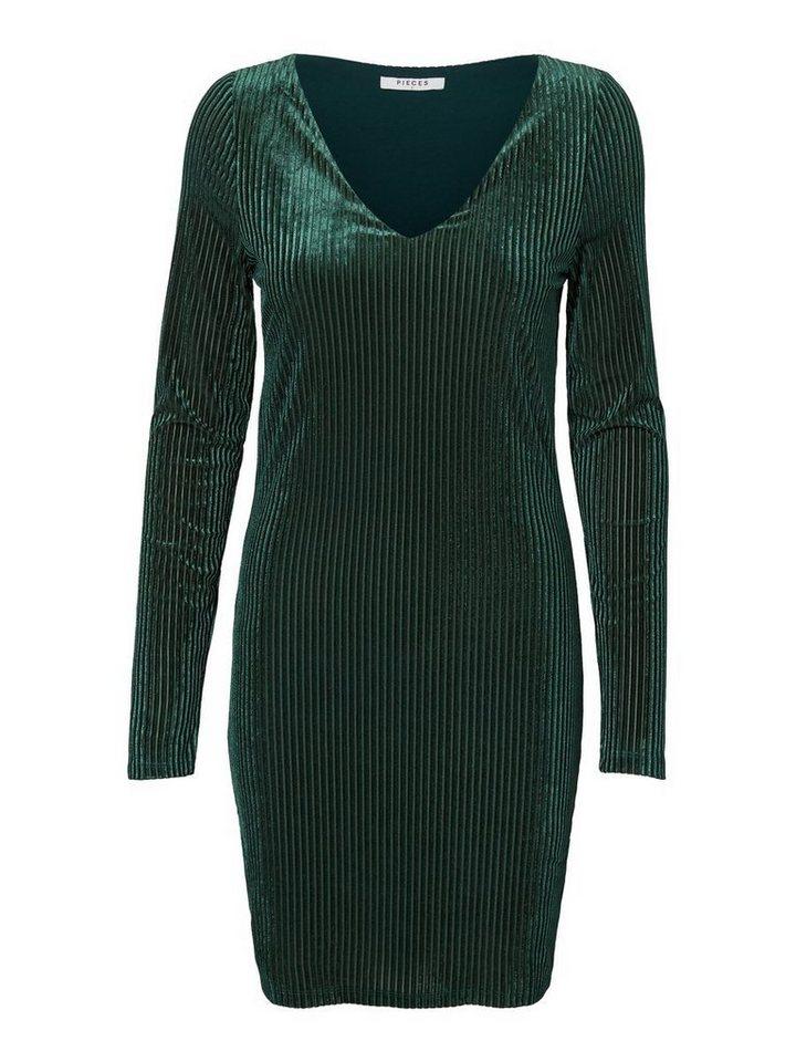 Pieces Fluwelen jurk met lange mouwen groen