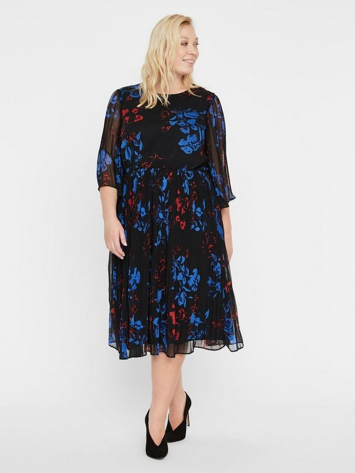 Junarose Bloemenprint midi- jurk zwart