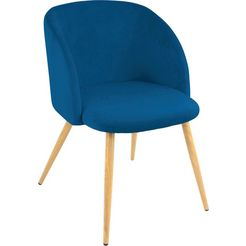 paroli stoel met armleuningen dali (set van 2 of 4), met velours-overtrek en in 2 framekleuren (set) blauw