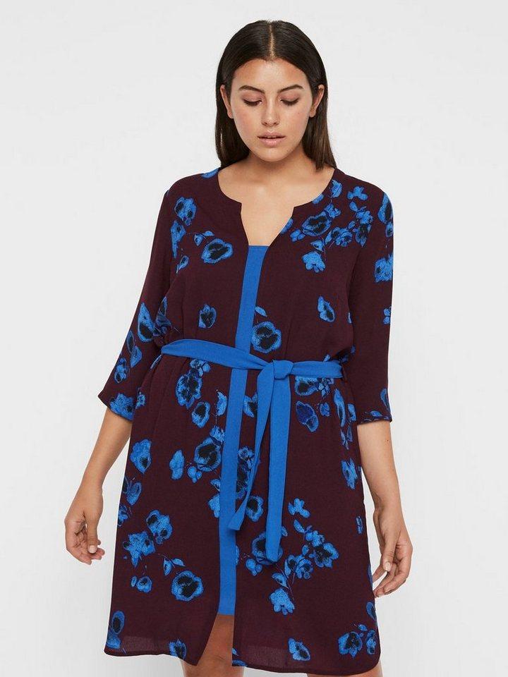 Junarose Strikkoord met bloemenprint jurk paars