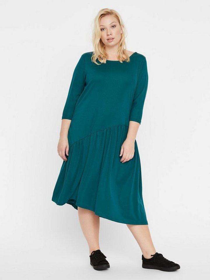 Junarose Asymmetrisch volant jurk groen