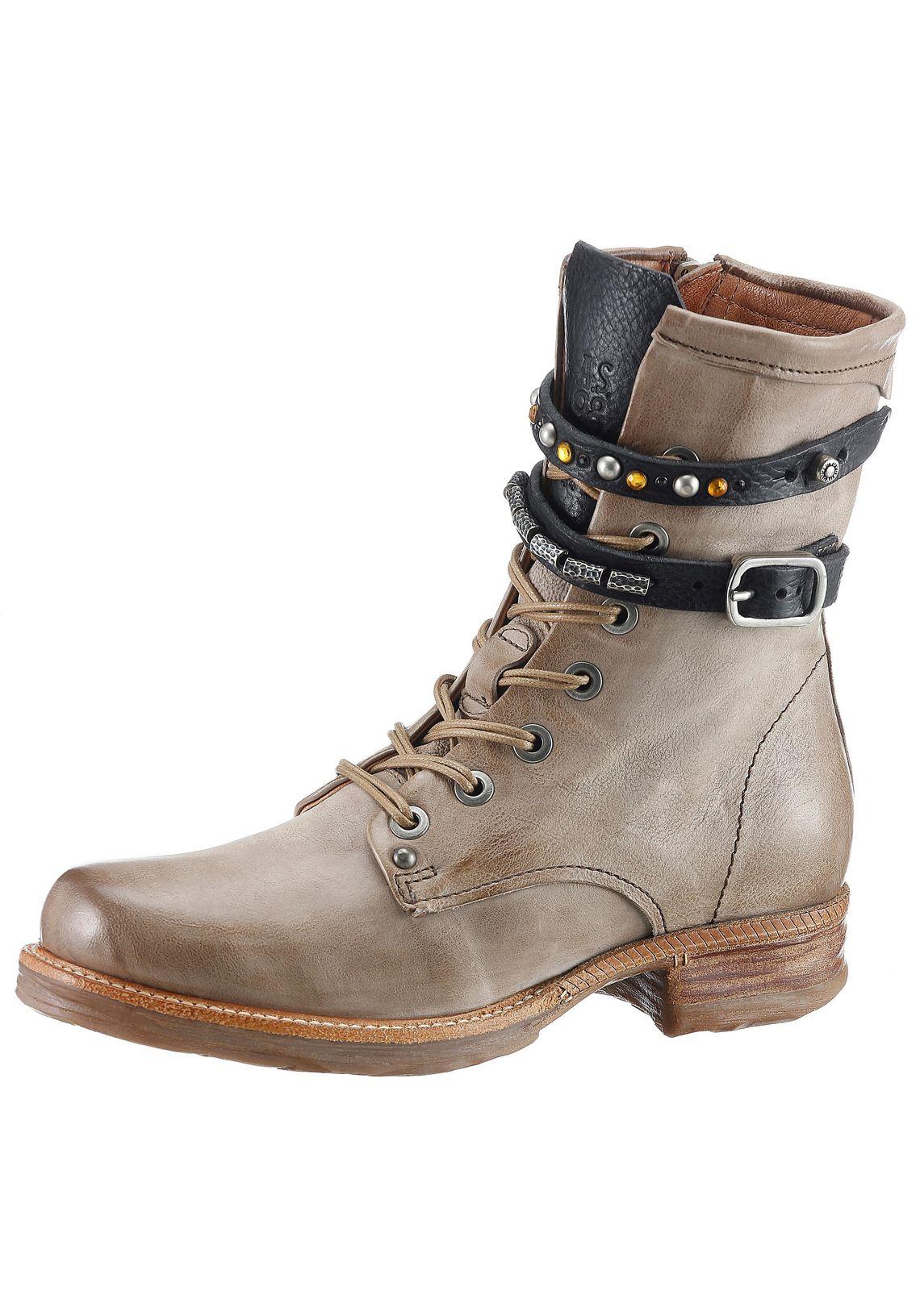 A.S.98 hoge veterschoenen online shop  taupe/zwart