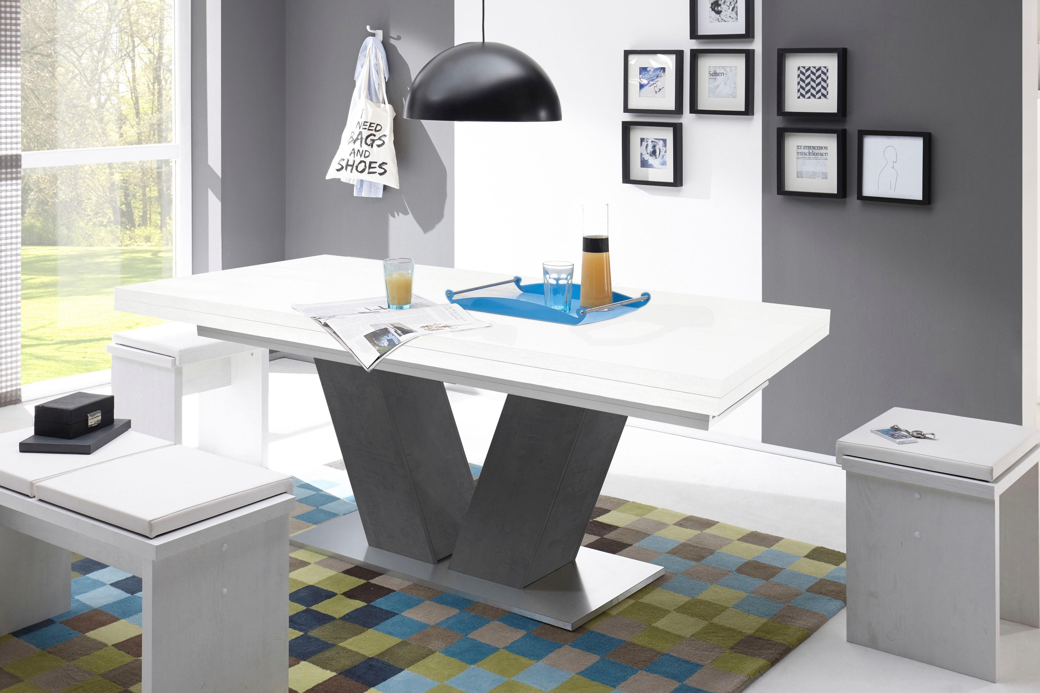 Mäusbacher Eettafel Comfort D met v-frame in grafiet en met uittrekfunctie, breedte 160-260 cm bij OTTO online kopen