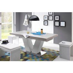 eettafel »komfort d« met v-onderstel in wit en uittrekfunctie, breedte 180-280 cm wit