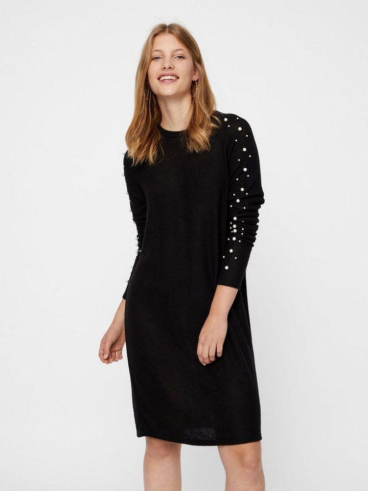 Vero Moda Mouwen met parels gebreide jurk zwart